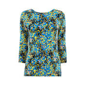 Warehouse, DITSY PRINT SCOOP BACK TOP Blue Pattern 0
