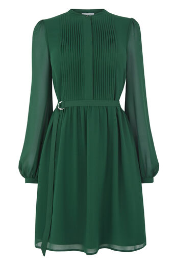 Warehouse, CHIFFON SHIRT DRESS Dark Green 0