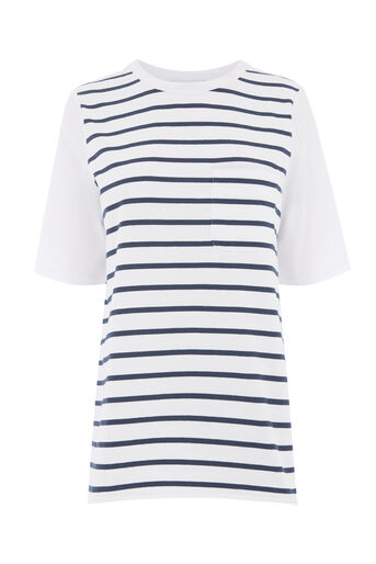 Warehouse, STRIPE COTTON BACK POCKET TEE Blue Stripe 0