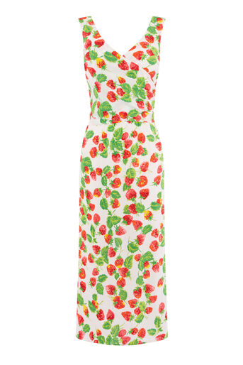 Warehouse, STRAWBERRY WRAP BACK DRESS Neutral  Print 0