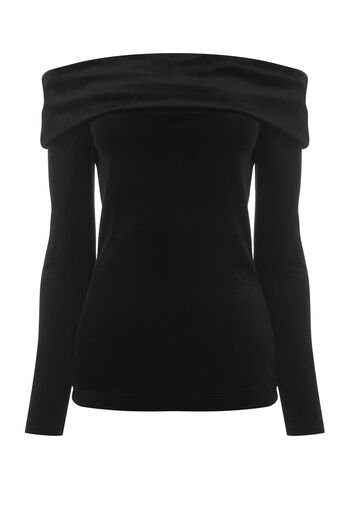 Warehouse, VELVET BARDOT TOP Black 0