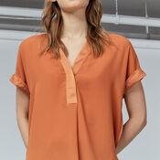 Warehouse, SATIN MIX BLOUSE Orange 4