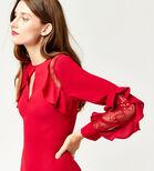 Warehouse, Midi-jurk met kanten inzetstukken Helderrood 4
