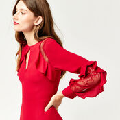 Warehouse, RUFFLE LACE INSERT MIDI DRESS Bright Red 4