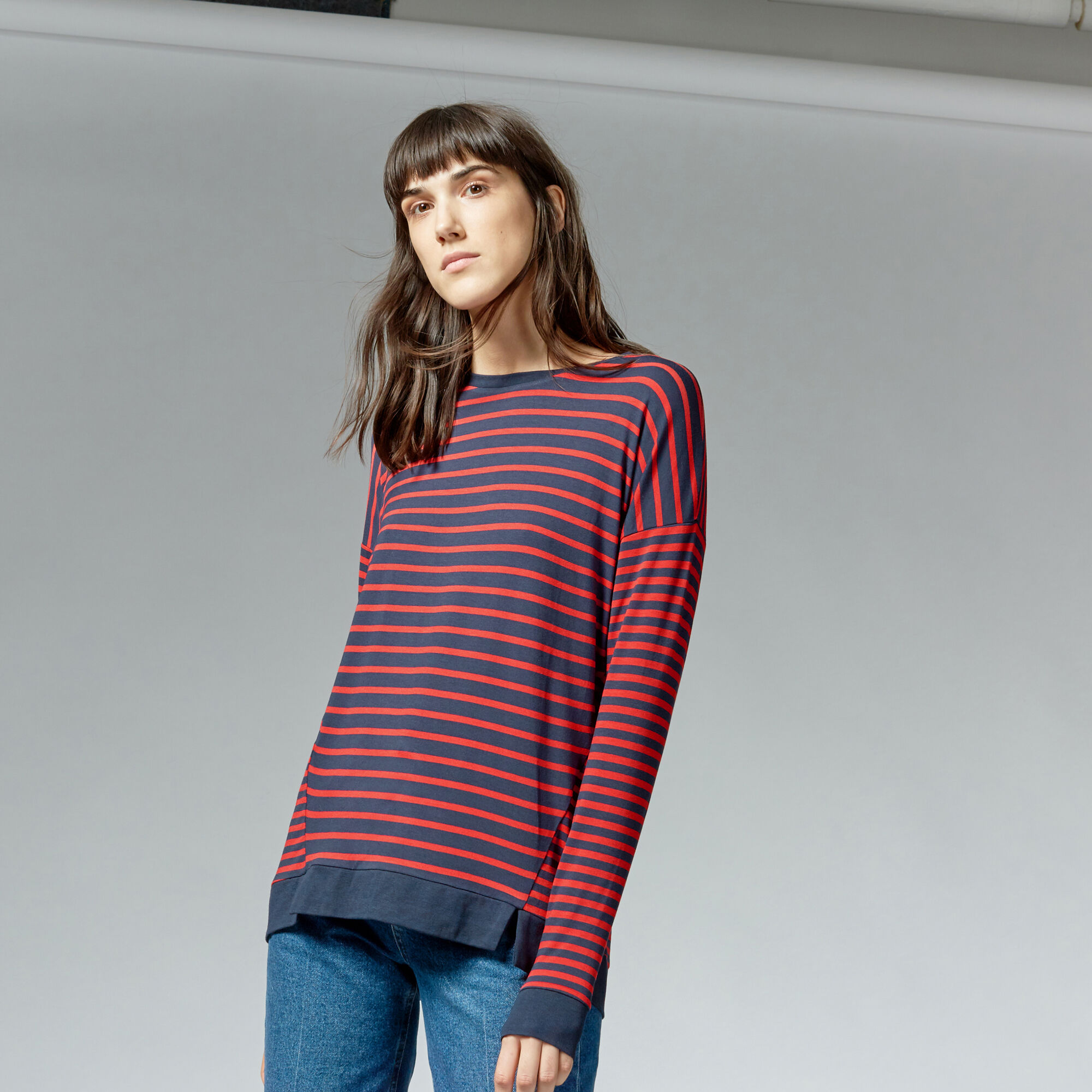 Warehouse, RIB HEM STRIPE TOP Red Stripe 1