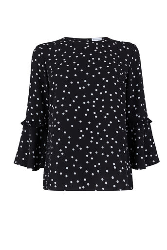 Warehouse, SPOT PRINT DOUBLE FRILL TOP Black Pattern 0