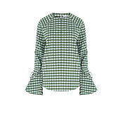 Warehouse, GINGHAM RUCHED SLEEVE TOP Dark Green 0
