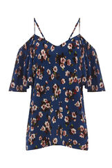 Warehouse, MAE FLORAL FRILL SLEEVE TOP Blue Pattern 0