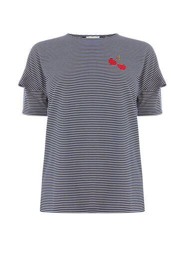Warehouse, CHERRY EMBROIDERED STRIPE TEE Navy 0