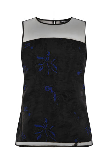 Warehouse, FLORAL EMBROIDERED SHELL TOP Black 0
