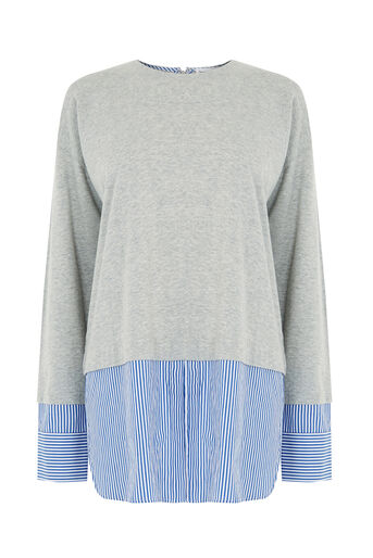 Warehouse, Stripe Hem & Cuff Top Light Grey 0