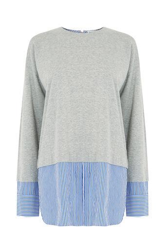 Warehouse, Stripe Hem & Cuff Top Light Grey 0