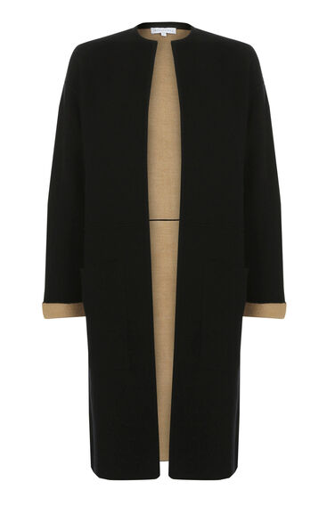 Warehouse, COLOURBLOCK CARDI COAT Black 0