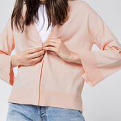 Warehouse, SPLIT CUFF POPPER CARDI Light Pink 4