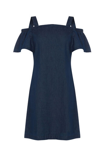 Warehouse, Cut Out Angel Sleeve Dress Mid Wash Denim 0