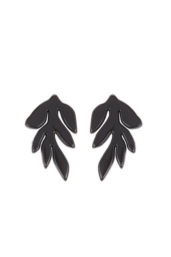 Warehouse, Leaf Shape Earring Black 0