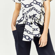 Warehouse, CHAIN PRINT TIE FRONT TOP Neutral  Print 4