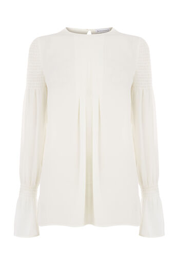 Warehouse, SMOCKED SLEEVE TOP Cream 0