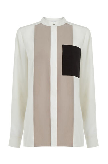 Warehouse, COLOURBLOCK SHIRT Mink 0
