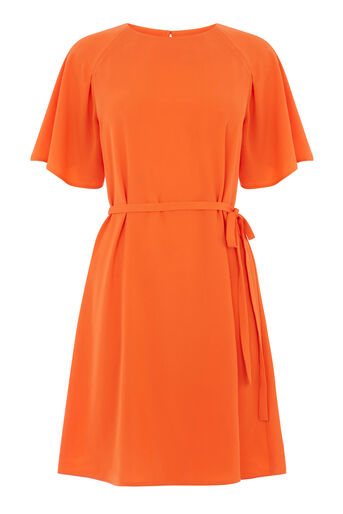 Warehouse, PLEATED SLEEVE DRESS Orange 0