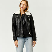Warehouse, Borg Collar Faux Leather Biker Black 1