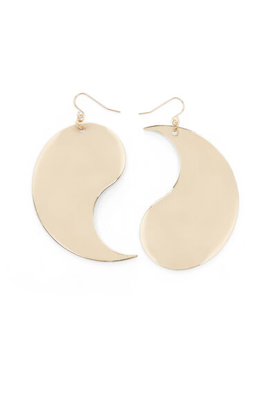 Warehouse, METAL YING YANG EARRINGS Gold Colour 0