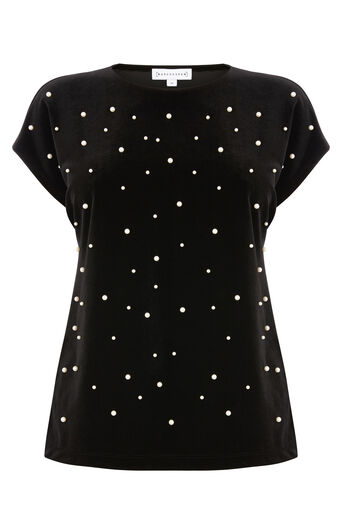Warehouse, PEARL EMBELLISHED VELVET TOP Black 0