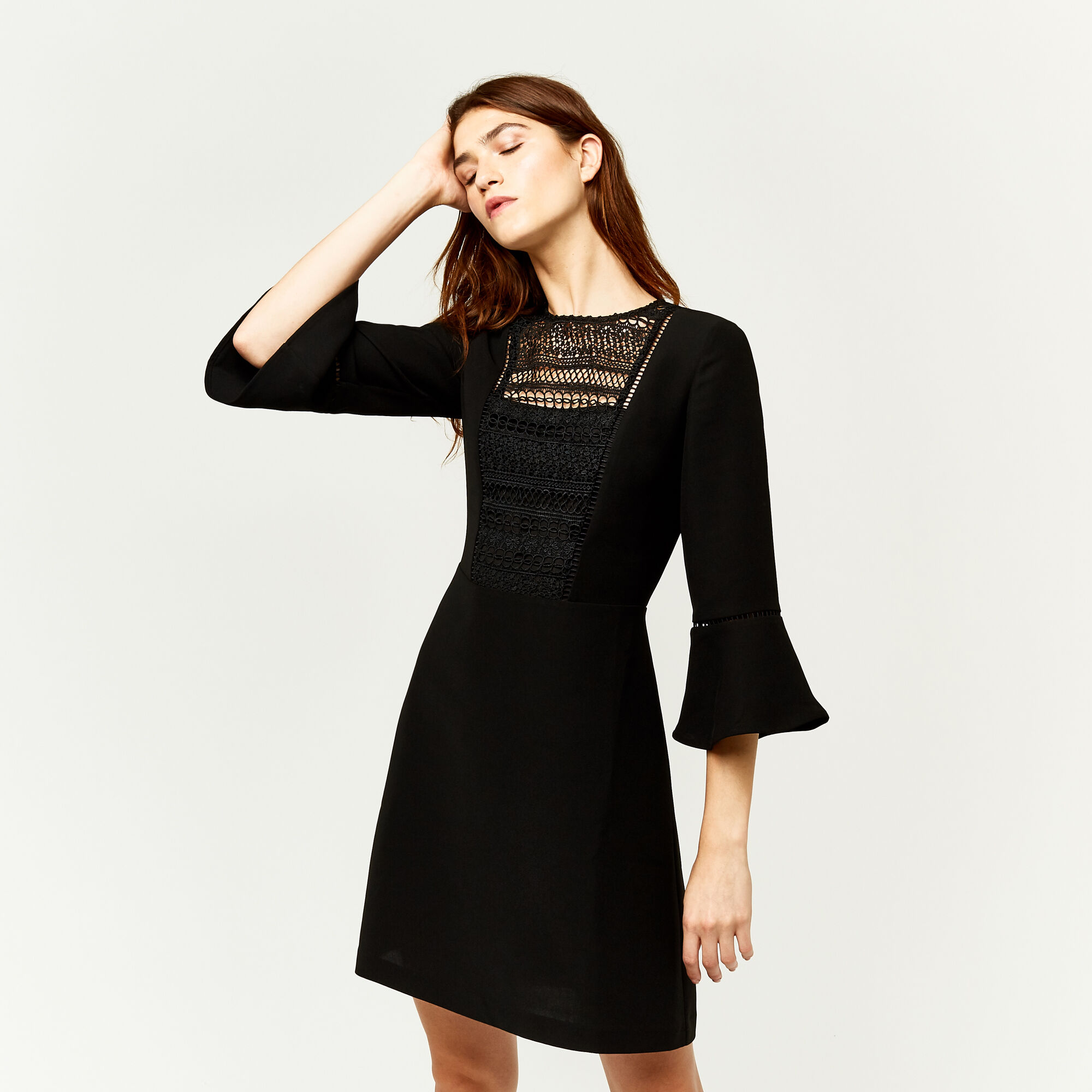 Warehouse, LACE FRONT FLUTED SLEEVE DRESS Black 1