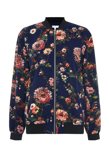 Warehouse, PAINTED FLORAL BOMBER JACKET Blue Pattern 0