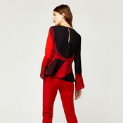 Warehouse, CUT OUT BLOCK PRINT TOP Red Pattern 3