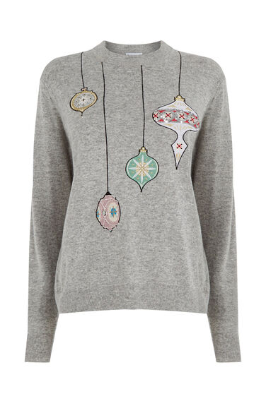 Warehouse, BAUBLE CHRISTMAS JUMPER Light Grey 0