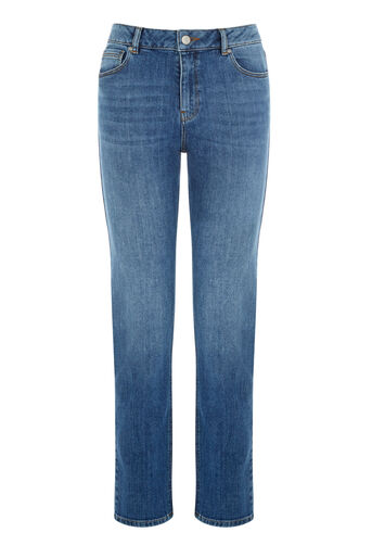 Warehouse, Straight Cut Jean Mid Wash Denim 0