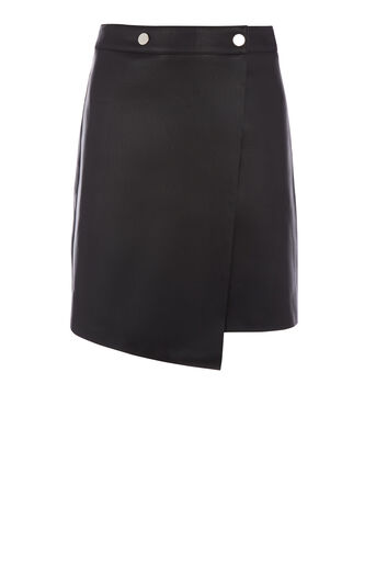 Warehouse, FAUX LEATHER WRAP SKIRT Black 0
