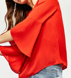 Warehouse, RUFFLE SLEEVE TOP Bright Red 1