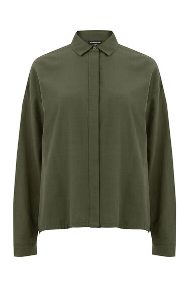 Warehouse, Drawstring Shirt Khaki 0