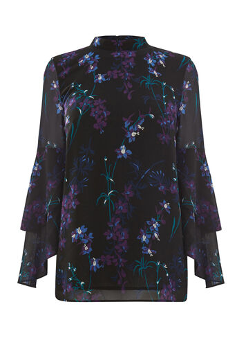 Warehouse, GILLY FLORAL TIERED SLEEVE TOP Black Pattern 0