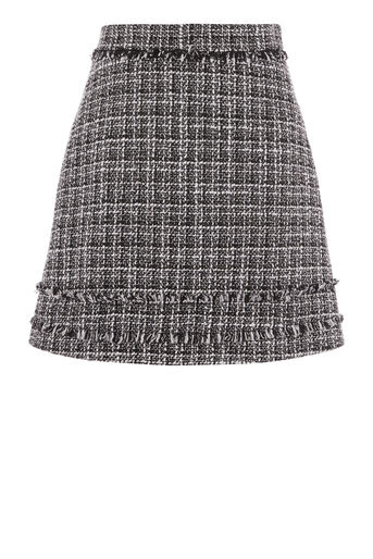 Warehouse, MONO TWEED PELMET SKIRT Black Pattern 0