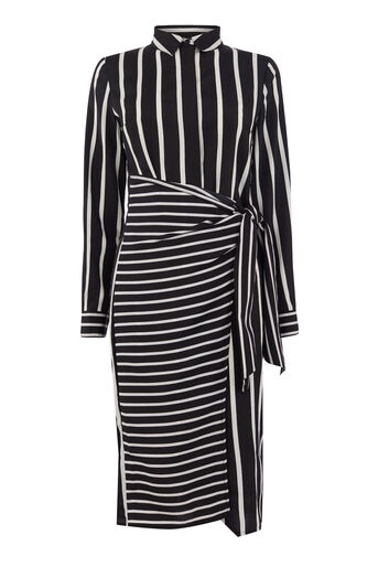 Warehouse, STRIPE WRAP SHIRT DRESS Black Stripe 0