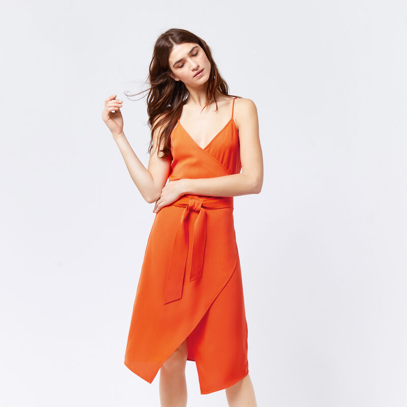 Warehouse, WRAP CAMI DRESS Orange 1