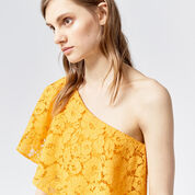 Warehouse, BONDED LACE ONE SHOULDER DRESS Yellow 4