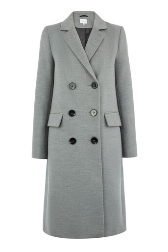 Warehouse, DOUBLE BREASTED CROMBIE COAT Light Grey 0