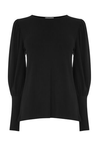 Warehouse, PUFF LONG SLEEVE TOP Black 0