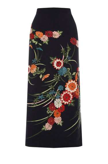 Warehouse, SPLIT SIDE FLORAL MIDI SKIRT Black 0