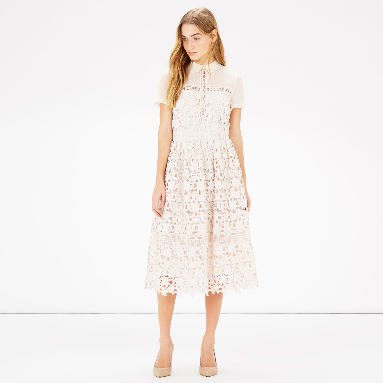 Warehouse, LACE SHIRT DRESS Cream 1