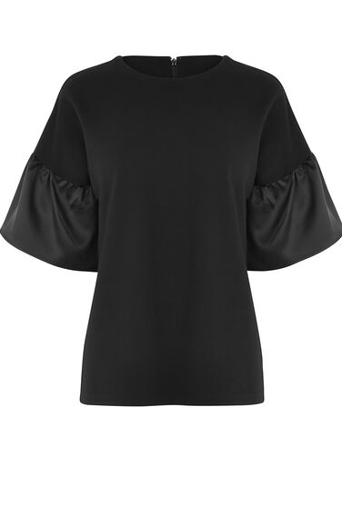 Warehouse, SATIN FLUTE SLEEVE TOP Black 0