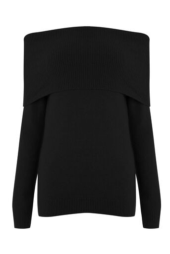 Warehouse, SOFT DEEP BARDOT JUMPER Black 0
