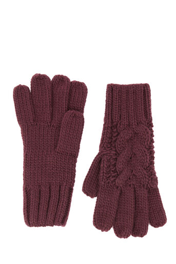 Warehouse, CABLE KNIT GLOVE Berry 0