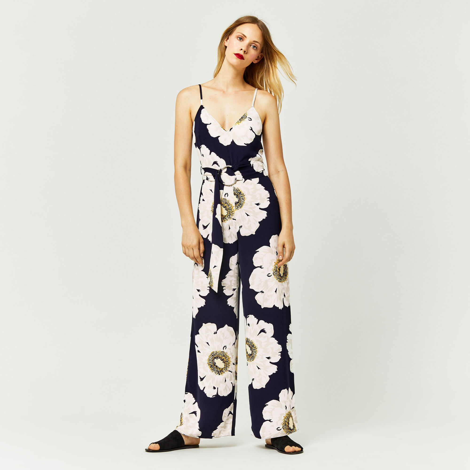 Warehouse, MELODY FLORAL JUMPSUIT Blue Pattern 1