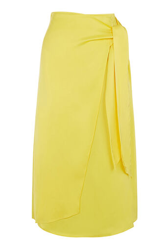 Warehouse, PREMIUM BELTED WRAP SKIRT Yellow 0
