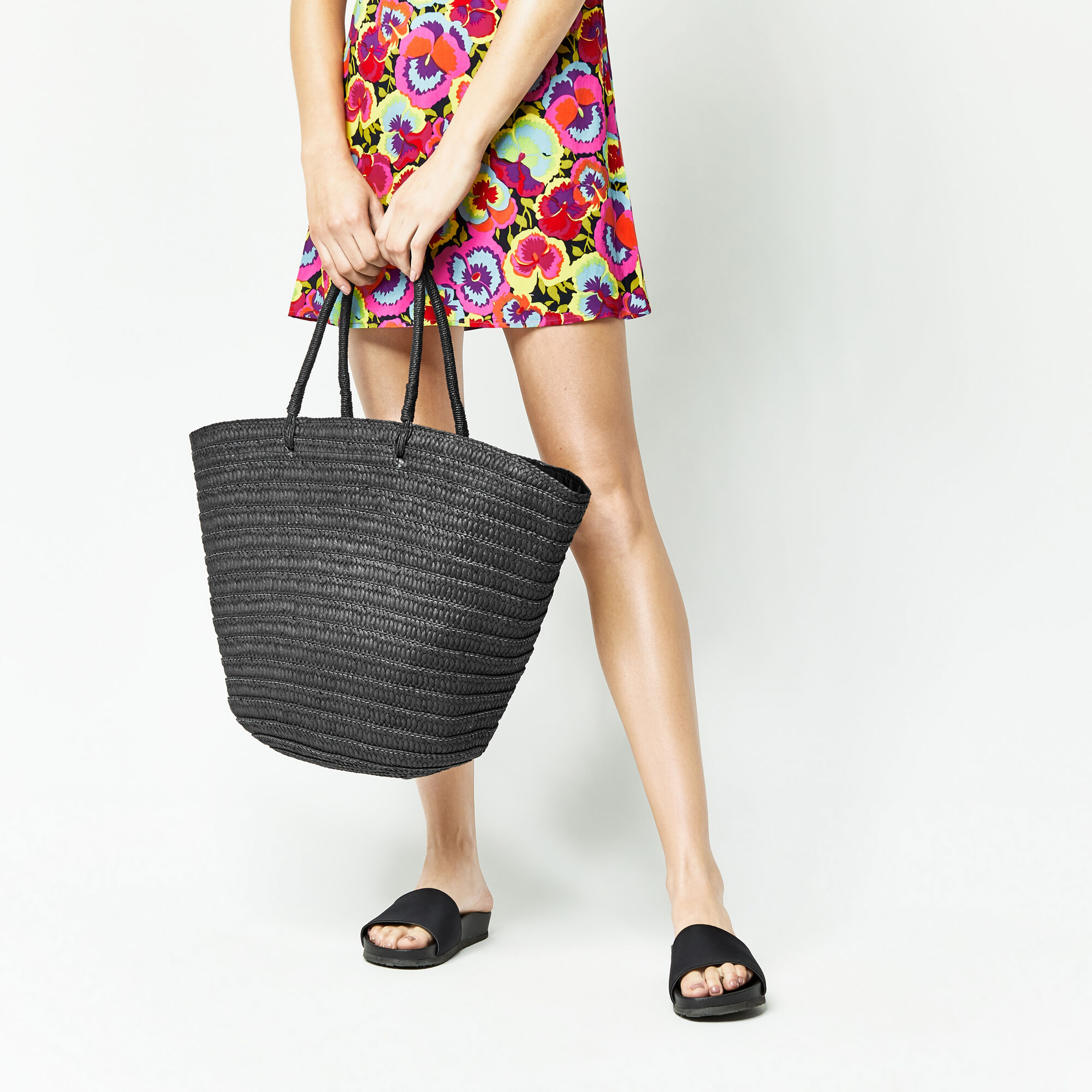 Warehouse, STRAW BASKET TOTE BAG Black 1